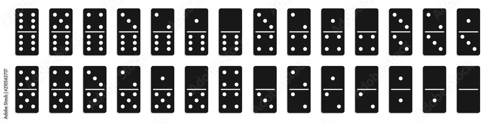 Fototapeta Creative vector illustration of realistic domino full set isolated on transparent background. Dominoes bones art design. Abstract concept 28 pieces for game graphic element