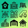 Vector icon set about building with 9 icons related to resort, airplane, swimming, scene and vector