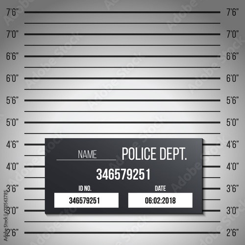 Fotomural  Creative vector illustration of police lineup, mugshot template with a table isolated on transparent background