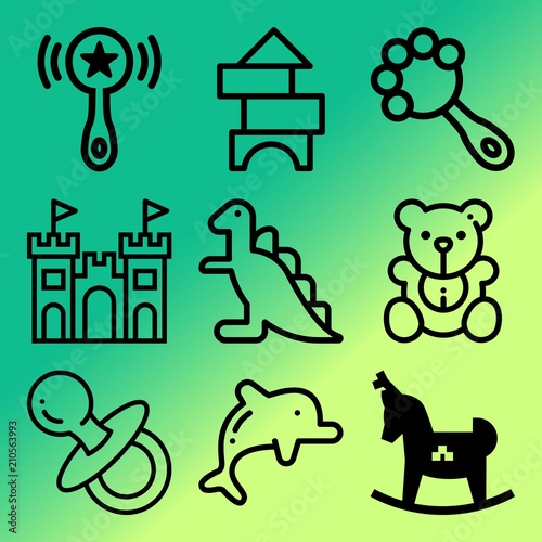 Vector Icon Set About Baby With 9 Icons Related To Simple