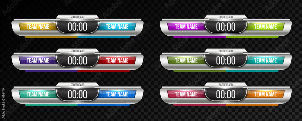 Fototapeta Creative vector illustration digital scoreboard broadcast graphic isolated on transparent background. Art design lower thirds template. Abstract concept soccer, football, basketball, futsal element