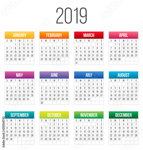 Creative Vector Illustration Of 2019 Year Colorful Calendar Isolated