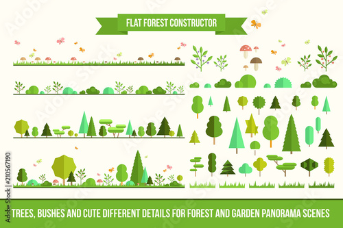 Poster White Create your own forest - flat constructor kit. Huge collection of infographic vector elements. Set of trees, bushes, florals and cute details for nature landscape panorama scenes, app and game design