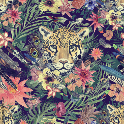 Fotografía Seamless hand drawn watercolor pattern with leopard head, flowers, feathers, flowers