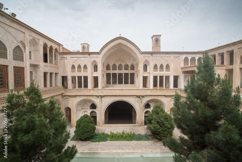 Foto op Aluminium Oude gebouw The Abbasian (Abbasi) House is a large traditional historical house, was built in the late 18th century by a wealthy merchant in Kashan, Isfahan Province, Iran.