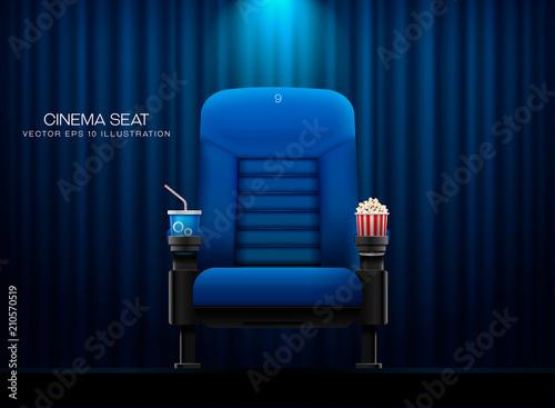 Fotografía Cinema seat.Theater seat on curtain with spotlight background