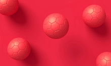 Red Soccer Balls And Red Backg...