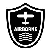 Airborne Badge Logo. Simple Illustration Of Airborne Badge Vector Logo For Web Design Isolated On White Background