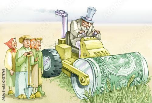 Fotomural  landgrabbing destruction and hunger ecological political illustration for blog