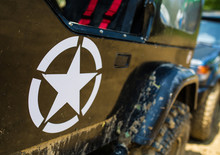 US Military Star On Jeep Car