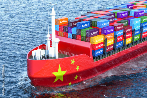 Valokuva  Chinese freighter ship with cargo containers sailing in ocean, 3D rendering