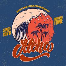 Aloha. Surfing Time. Poster Te...