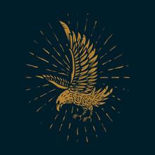 Eagle Illustration In Golden Style On Dark Background. Design Element For Poster, Card, Sign, Print.
