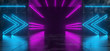 canvas print picture - Futuristic Sci FI Reflective Dark Concrete Room And Tunnel With Purple And Blue Neon Lights And Pointing Arrows 3D Rendering