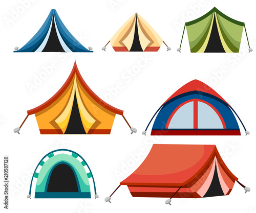 Camping vector icons of camp tent in