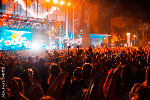 View of a concert with people or audience with hands in the air and clapping at a music festival. Summer music festival. - 210587723