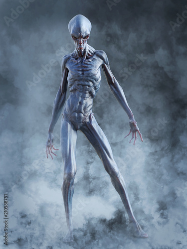3D rendering of an alien creature ready to fight. Fototapet
