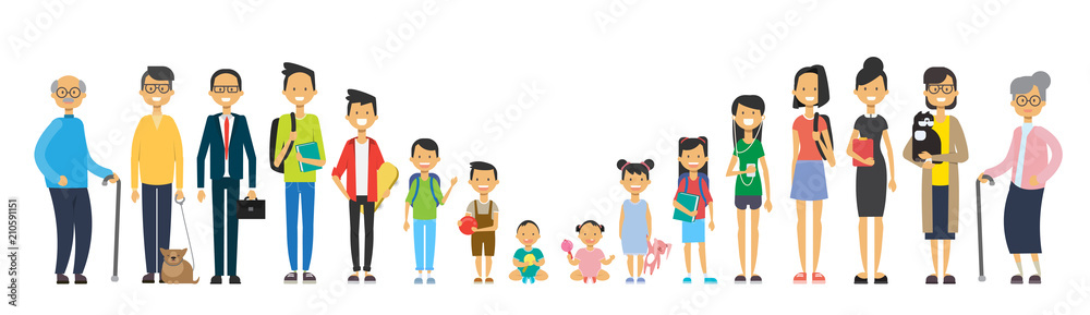 Fototapeta multi generation family on white background. Parents and grandparrents, teens and children, tree of genus happy family concept, flat cartoon design vector illustration