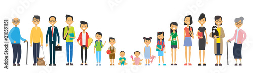 multi generation family on white background Fototapeta