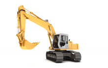 Hydraulic Excavator With Bucket Turned To Left. 3d Illustration. Side View. Isolated On White Background