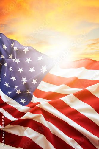 Obraz na płótnie USA flag and sky