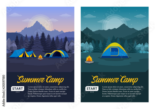 Leinwand Poster Vector morning and night mountains summer camp vertical banners