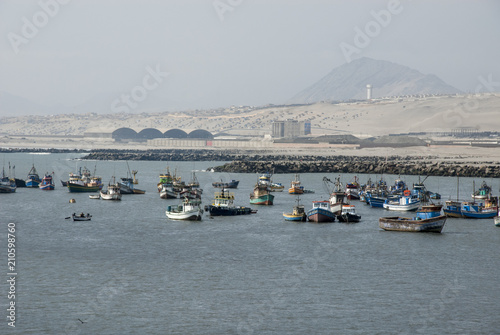 Town and fishing boats, Salaverry, Trujillo, Peru
