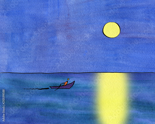 Fotografie, Obraz  The boat sails on the sea under the moon