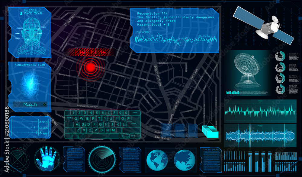 Fototapeta Search and Track a Person From Space in the Style of HUD. Search and Recognition on the Map and Demonstration on The Map. Tracking the Program for Espionage. Spyware In HUD Style. Vector Illustration