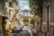 Street In Athens Overlooking The Arch Of Hadrian
