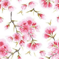 NaklejkaWatercolor cherry blossom seamless pattern