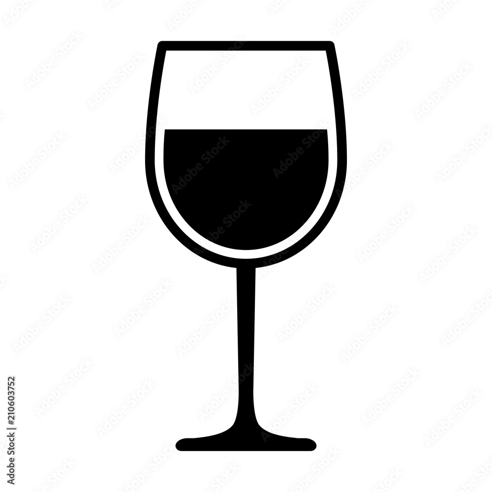 Fototapeta Wine glass with wine for tasting flat vector icon for apps and websites