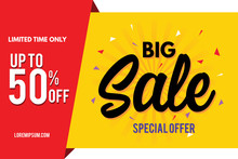 Sale Banner. Big Sale Banner Template Design. Sale And Discount. Vector Illustration.