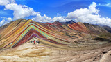 Fototapeta Tęcza - Rainbow Mountain  in Cusco, Peru.