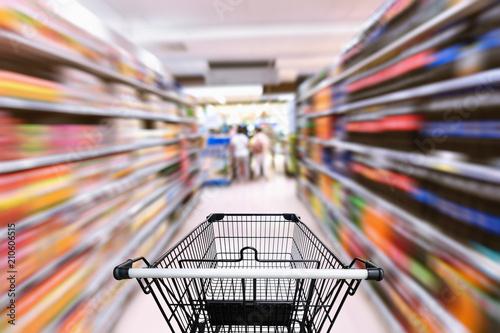 Supermarket interior and storage shelf, Shopping concept