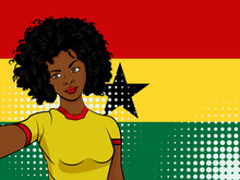 African American Girl Makes Selfie In Front Of National Flag Ghana In Pop Art Style Illustration. Element Of Sport Fan Illustration For Mobile And Web Apps