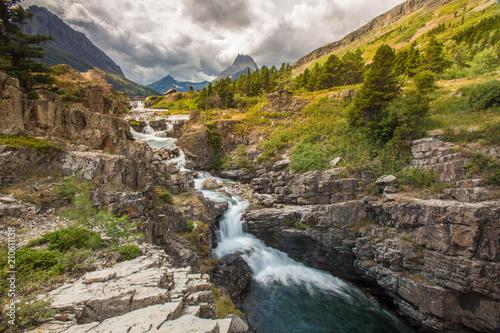 Fotografie, Obraz  Waterfall in Glacier National Park