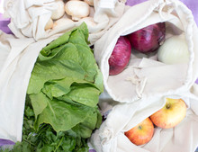 Bulk Vegetables, Fruit And Mushrooms In Reusable Cotton Bags