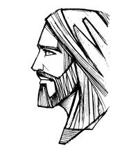 Jesus Christ Face Pencil Illustration