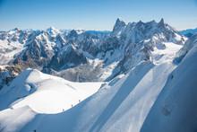 Mont Blanc Mountain, Alps Mountain View From Aiguille Du Midi, Chamonix,  France