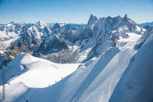 Mont blanc mountain, Alps mountain view from Aiguille du Midi, Chamonix,  France Wallpaper Mural