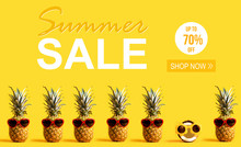 Summer Sale With Pineapples An...