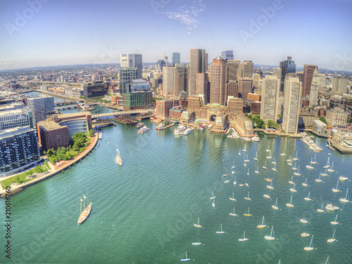 Photo Boston, Massachusetts Skyline from above by Drone during Summer Time