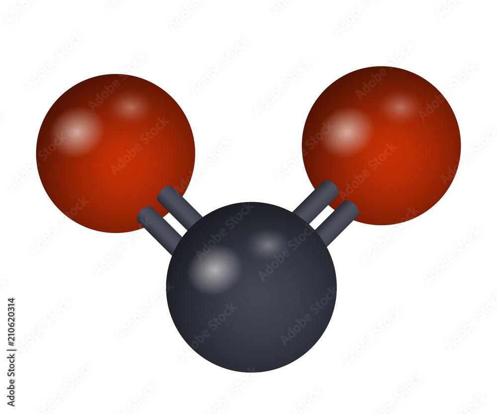 Fototapeta A molecule of carbon dioxide. CO2 3D formula. Vector illustration. Chemical structure.