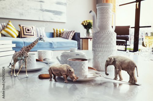 Photo  african animals on the coffee table.