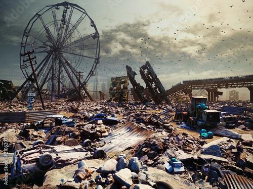 Spoed Foto op Canvas Chocoladebruin Apocalypse city landscape.