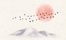 Watercolor Mountains, Birds An...