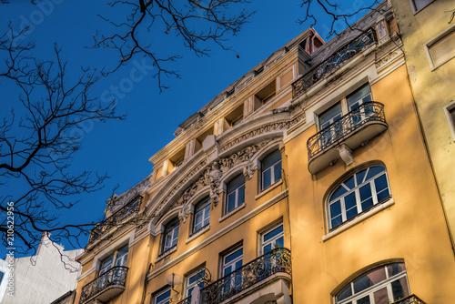 Foto op Aluminium Oude gebouw Beautiful facade from ancient european style building.