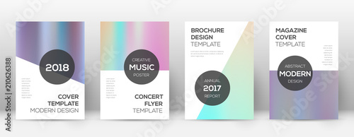 Flyer layout. Modern bizarre template for Brochure, Annual Report, Magazine, Poster, Corporate Presentation, Portfolio, Flyer. Authentic pastel hologram cover page.