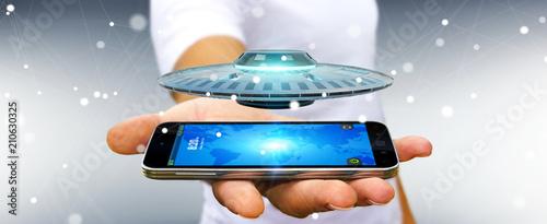 Fotografiet Businessman with retro UFO spaceship 3D rendering